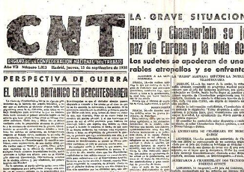 Cnt. Organo De La Confederacion Nacional Del Trabajo. Año Vii. N. 1013. 15-Septiembre-1938.