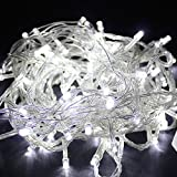 Meiguangyuan10m 33ft 100led Bulbs Pretty Indoor Outdoor Fairy String Lights for Wedding Party Christmas LED String Fairy Tree Lights (8 Modes10m 33ft, White)