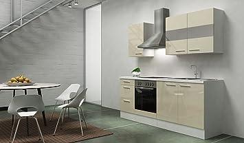 respekta Kitchen Unit Built-In Kitchen, 210 CM White Gloss CERAN