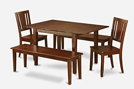 East West Furniture MLDU5D-MAH-W 5-Piece Dinette Table Set