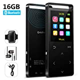 MP3 Player with Bluetooth,16GB Music Player with FM Radio/Voice Recorder,HiFi Lossless Sound Quality,Metal, Alarm Clock, Touch Button, HD Sound Quality Earphone, 2018 Newest Model, with an Armband (Color: Black)