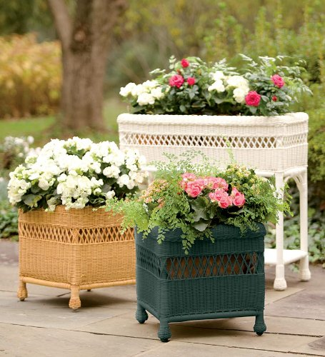 Weather-Resistant Rectangular Wicker Planter