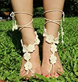 HuanX35 crochet barefoot sandals,Beach Wedding Foot Jewelry,Barefoot Sandals,Anklet,Beach Pool,Nude Shoes,Footless sandles,Yoga Chain(creamy white)