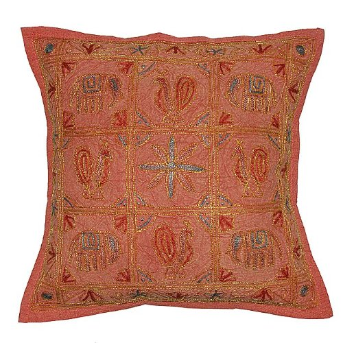 Marvellous Home Decor Embroidery Work & Zari Work Brown Color Cotton Cushion Cover Throw Pillow Cover Comforter Set India (Size 16 X 16) (5 Pcs)