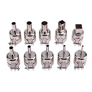 VIPFIX 12Pcs / Set Heat Gun Nozzles Solder Gun Nozzle Kits for 850 852D 950 952 990 Hot Air Gun Soldering Station