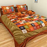 Nirmal Cotton Silk And Gold Zari Work 5 Pc Bedding Set (1 Bed Cover + 2 Pillow Covers + 2 Cushion