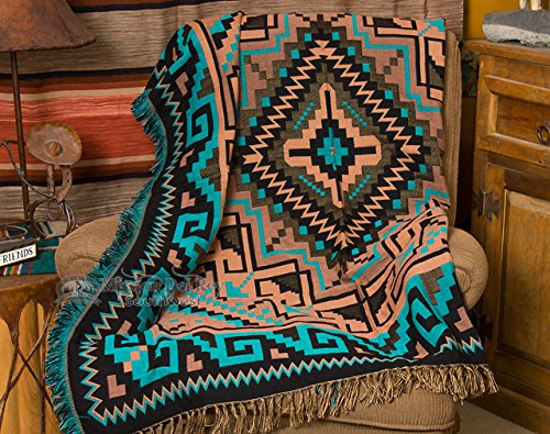 Southwestern Accent Throw 50x60 -Navajo Turquoise
