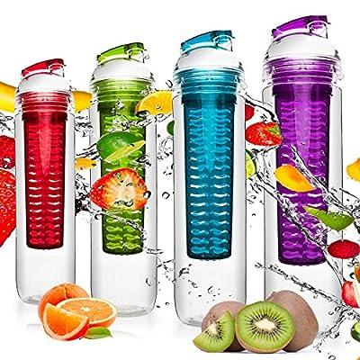 800ml Trinkflasche für Fruchtschorlen / Gemüseschorlen in den Farben Grün, Lila, Blau und Rot. Perfekte Sportflasche aus spülmaschinenfesten Tritan-Material mit extra-easy Trinkverschluss