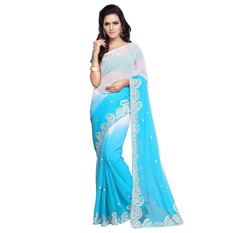 Women's Fashion Border Embroiedred Design Chiffon Fabric Saree