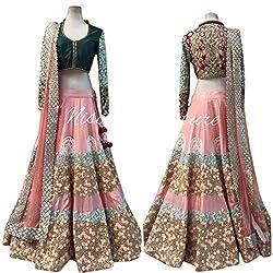 Astha bridal women design lehenga(pink mischb lahenga111_multi colour_42)