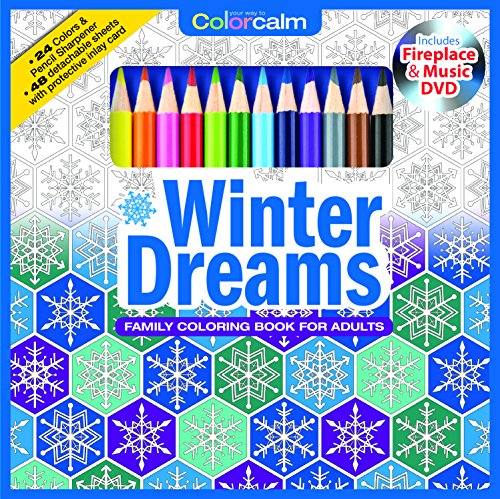 Winter Dreams Christmas Adult Coloring Book Set With Colored Pencils, Pencil Sharpener And Fireplace And Music DVD Included: Color Your Way To Calm (Color With Music) (Colored Pencil Patterns compare prices)