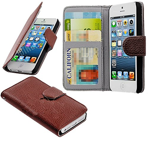 Mylife (Tm) Desert Brown- Modern Design - Textured Koskin Faux Leather (Card And Id Holder + Magnetic Detachable Closing) Slim Wallet For Iphone 5/5S (5G) 5Th Generation Itouch Smartphone By Apple (External Rugged Synthetic Leather With Magnetic Clip + In