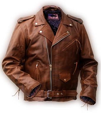 Noble House Herren Motorradlederjacke Bikerjacke Rockabilly Marlon Brando cognac echt Rinderleder