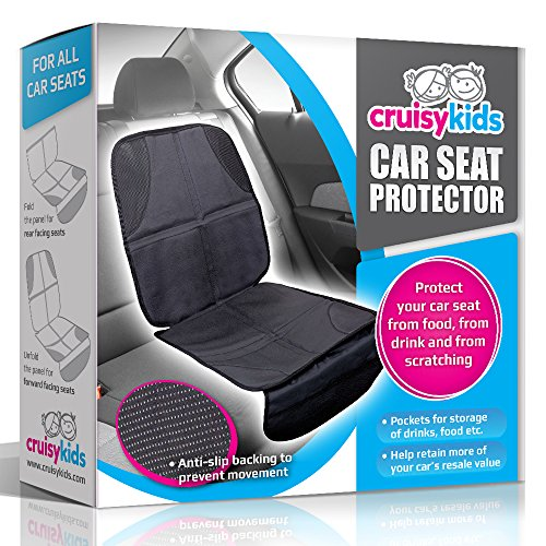 Car Seat Protector by Cruisy Kids - Car Seat Protector Cover Mat For Under Your Baby & Infant Seats. The Best Child Seat Protection Covers For The Front & Back Seats Of Your Vehicle. Perfect Protection For Leather, Fabric, Vinyl, Cloth & All Other Types Of Auto Seats - Expect Cruisy Kids Quality With This Car Seat Protector!