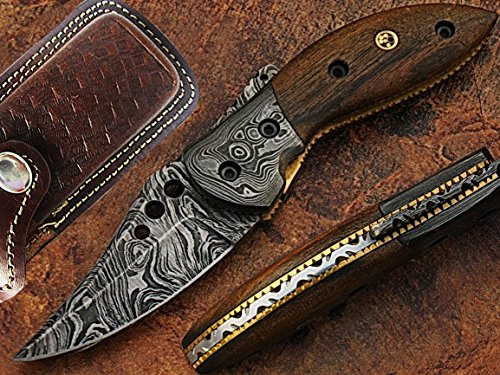 Fish Tail Damascus Steel Pocket Knife Wood Handle with Mosaic Pin
