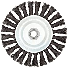 "Weiler Vortec Pro Wide Face Wire Wheel Brush, Threaded Hole, Carbon Steel, Full Twist Knotted, 6"" Diameter, 0.025"" Wire Diameter, 5/8-11"" Arbor, 11000 rpm"