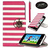 iPhone 5C case, iPhone 5C case cover, ULAK PU Leather Magnet Design Flip Stand Case For Apple iPhone 5C w/ Screen Protector and Stylus (Rudder Button-Red)