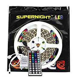 SUPERNIGHT® 16.4FT SMD 5050 Waterproof 300LEDs RGB Flexible LED Strip Light Lamp (Nanometer IP68 Waterproof) + 44Key IR Remote Controller