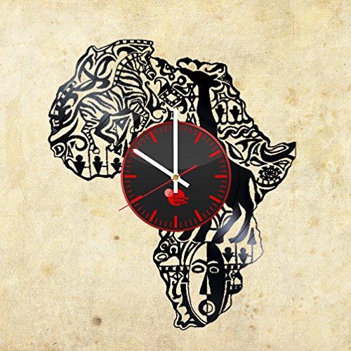 Africa-Artwork-Abstract-Handmade-Vinyl-Record-Wall-Clock-Vintage-Unique-Art-Design-Fan-Gift