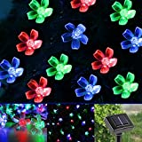 LE® Solar Flower Fairy String Lights 50 LEDs 23ft - 17m - Waterproof - RGB Multi-color - Blossom Christmas Lights with Light Sensor - Outdoor and Indoor Use - Ideal for Wedding - Party - Halloween Lights Decoration