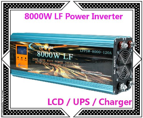 """8000 Watt Continual 32000 Watt Surge Low Frequency Pure Sine Wave Power Inverter Converter Transformer 12 V Dc Input / 110 V-120 V Ac Output 60 Hz Frequency With 120A Battery Charger Power Tools 3.5"""" Lcd/Ups/Charger"""