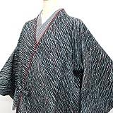 【洗える】プレタ 道中着 和装コート 日本製 着物用コート Mサイズ 黒地にブルー系