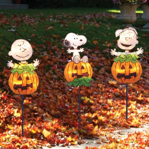 set of 3 peanuts the great pumpkin li - Halloween Garden Stakes