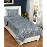 Super India 140 TC Floral Blue Single Bed Sheet With One Pillow Cover (2 Pcs)