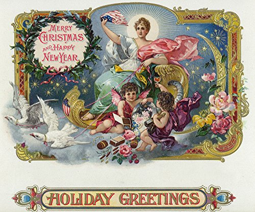 Holiday Greetings Brand Cigar Box Label - Merry Christmas and Happy New Year (12x18 Collectible Art Print, Wall Decor Travel Poster)