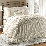 Lush Decor 7 Piece Stelle Comforter Set, Queen, Ivory