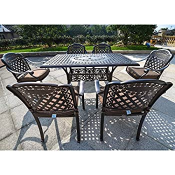"""Domi Outdoor Living Rainier Cast Aluminum Outdoor Patio Set 7-Piece Powder Coated with 59""""x35"""" Rectangle Dining Table ,4 Dining Chairs,2 Swivel Chairs,Antique Bronze"""