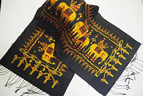 Elephant Thai Silk Scarf Shawl Black Perfect for Women So Much Cute Accessory (Reed Broom compare prices)