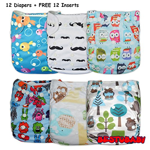 Besto Baby Double Rows Of Snaps 6Pcs Pack Fitted Pocket Washable Adjustable Cloth Diaper (12 Diaper Covers + 12 Inserts) back-926055