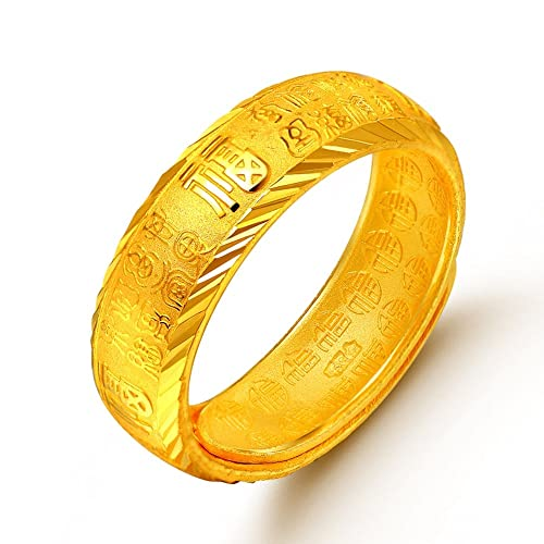 Yuxi Pure 999 24K Yellow Gold Women Men's Craved 福 Band Ring 5-5.5g Adjustable