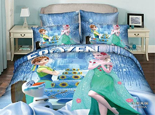 Norson Frozen Bedding Sets, Bedding Sets Cartoon, Kids Bedroom Bedding 4pc Set / 5pc Set, Queen, Do Not Fade 4pc botanical print bedding set