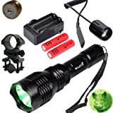 WindFire Waterproof 350 Lumens 250 Yards Green LED Coyote Hog Fox Predator Varmint Hunting Flashlight with Red Light LED Bulb Module Pressure Switch & Barrel Mount & Spare 18650 Battery and Charger (Color: Red)
