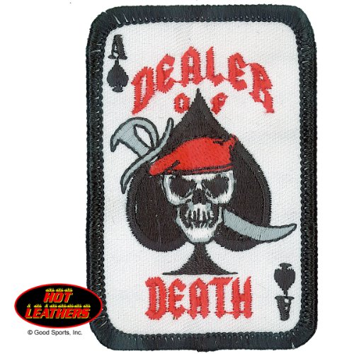 "Hot Leathers, DEALER OF DEATH ACE OF SPADES CARD DESIGN, Iron-On / Saw-On Rayon PATCH - 2"" x 3"""