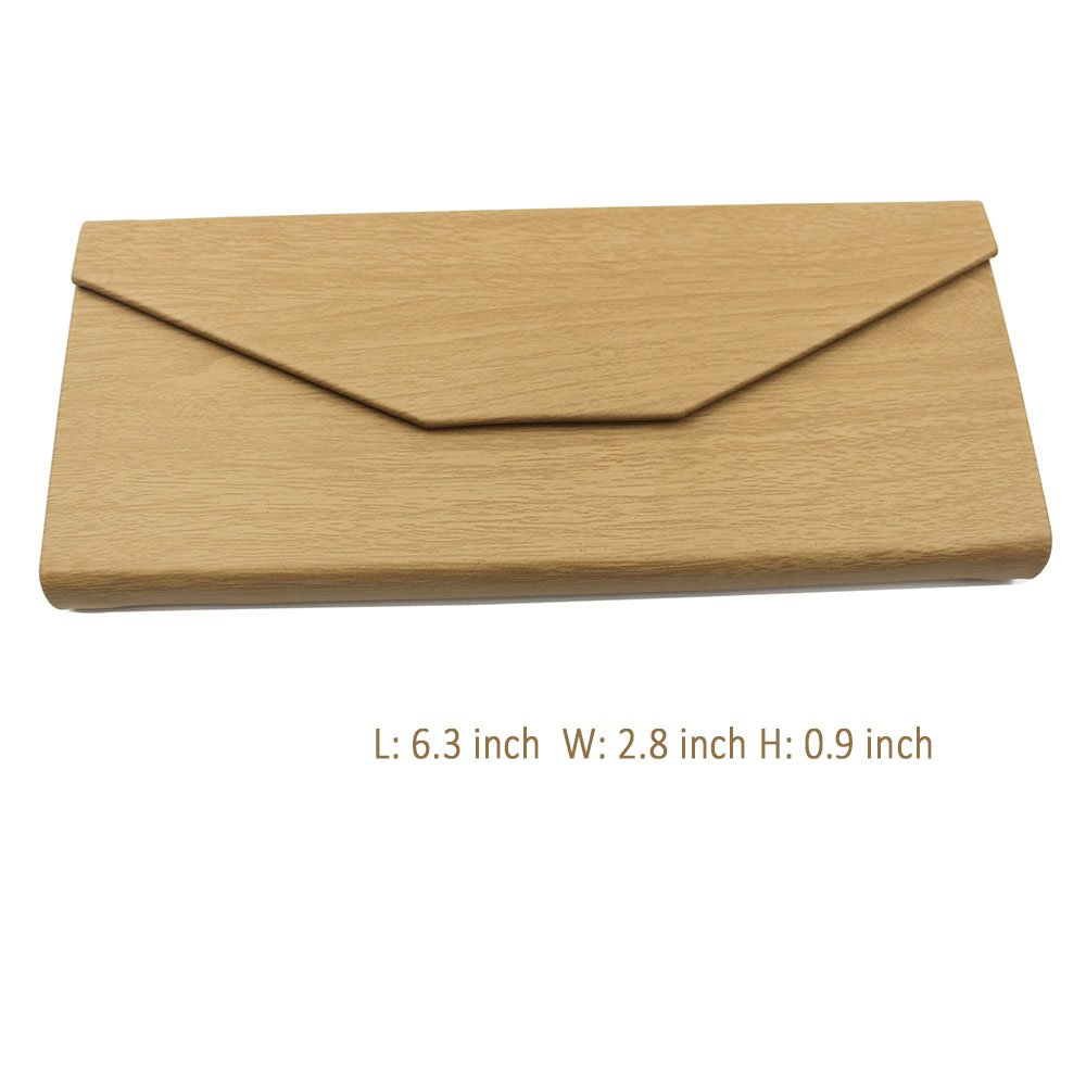 Eyeglasses Case, AMTIK® Vintage Wood Triangular Folding Eyeglasses Case (Natural Wood Grained) 2