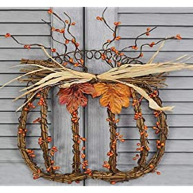 Fall and Autumn Rustic Grapevine and Wire Pumpkin Wall Decor with Pip Berries and Silk Autumn Leaves