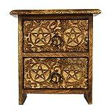 Valentine Gifts Ideas Wooden Pentacle Design Keepsake 2 Drawer Trinket Jewelry Storage (8.5 x 8 x 4 in)