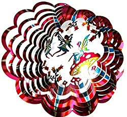 Shipityourway 12 3 D Wind Spinner Designer Fairy Flowers Fairies Powder Coated Metal + Smooth Swivel