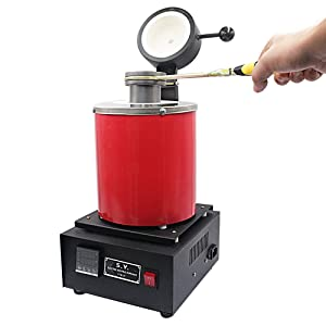 Uttiny Gold Melting Furnace, with Graphite Crucible 1400W 2KG Automatic Gold, Silver, Copper and Aluminum Melting Furnace for Refining Casting Gold Silver Copper Jewelry Making Precious Metals (2KGS) (Tamaño: 2KGS)