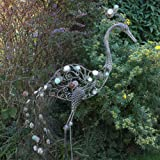 Foward Facing Peacock Garden Ornament with Vintage Finish & Decorative Stones