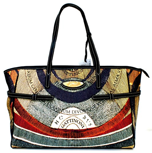 Gattinoni Borsa Donna Shopper Leather Stripe Zip Cm 38x25x17 Multicolor