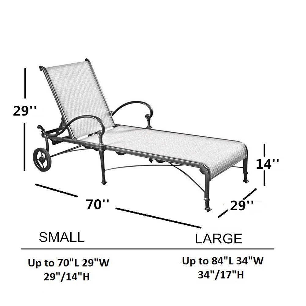 Abba Patio Outdoor/Pool Chaise Lounge Cover, Water Resistant, 84L x 34W x 34H