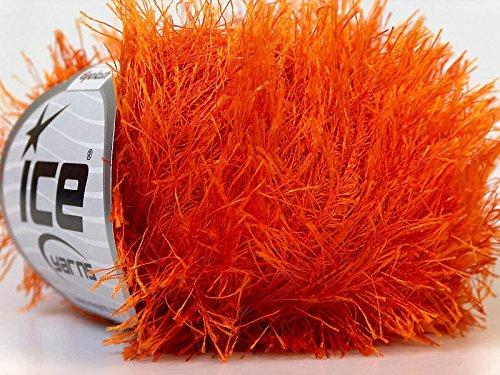 Orange Eyelash Yarn 50 Gram Ice 22757 - Import It All
