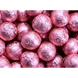 Bright Pink Foiled Milk Chocolate Balls 1LB Bag (Color: Pink)