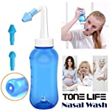 Tonelife Nasal Nose Wash Bottle Nasal Cleanse 10oz 300ml Nose Cleaner Clean Irrigator Allergies Relief Pressure Rinse Neti Pot Cleanser Irrigation Nasal Cleansing Washer Sneezer Washing,Blue Color (Color: 300ml Bottle)