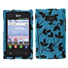 Fincibo (TM) LG Optimus Logic L35g Dynamic L38c Bling Crystal Full Rhinestones Diamond Case Protector - Leaf Pattern On Medium Teal