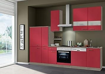 idealShopping Kuchenblock Imola ohne Elektrogeräte in rot glänzend 300 cm breit